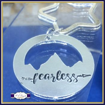 Personalised Mountain Keyring - Fearless Keyring - YOU CHOOSE WORDING - Fearless Mountain Keyring - Mountain Range - Boho Keyring - Travel