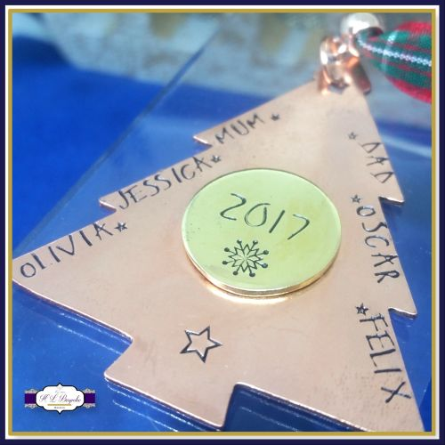 Personalised Copper Family Christmas Tree Decoration - Whole Family Christm