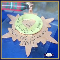 Personalised Copper Christmas Tree Decoration - YOU CHOOSE WORDING - Our Family to Yours - First Christmas Decor - Personalised Snowflake