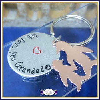 Personalised Grandad Keyring - Grandma Keyring - I / We Love You Grandad - Grandparent Gift - Penguin Gift - Grandparent and Grandchild