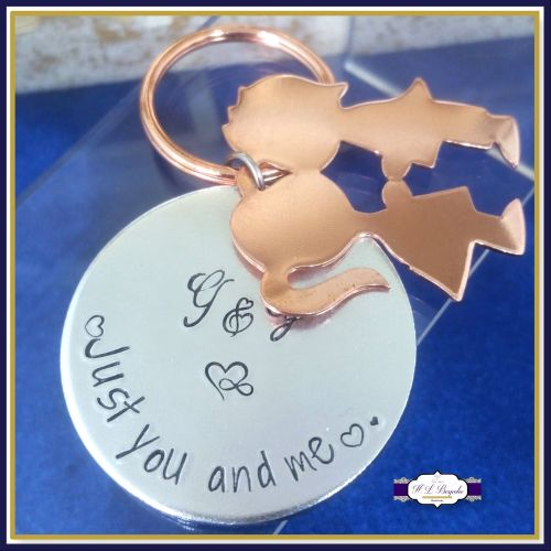 Personalised Valentines Keyring - Just You And Me Keychain - Couples Gift -