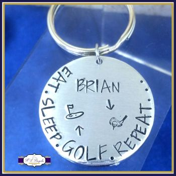 Personalised Golfer Keyring - Eat Sleep Golf Repeat Keyring - Custom Golfer Gift - Golfer Keychain - Golf Player Gift - Golf Repeat Gift