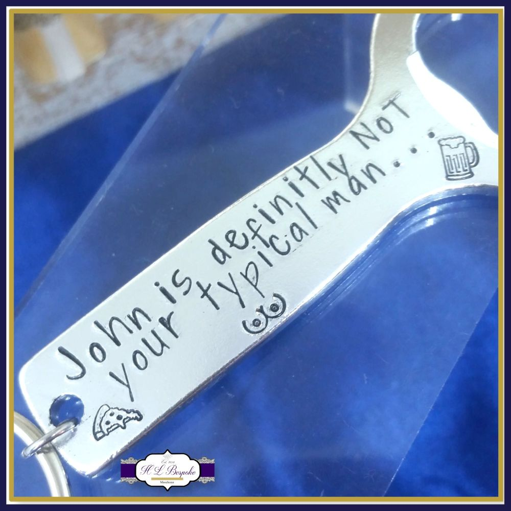 Personalised Bottle Opener For Men - Standard Male Gift - Typical Man Keych