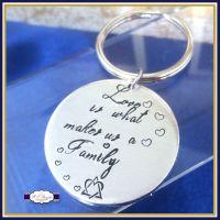 Adoption Keyring - Love Is What Makes Us A Family Keyring - New Addition Keyring - Adoption Gift - Adoptee - Bonus Child Keyring - Gotcha