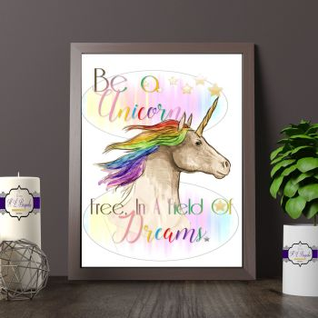 Watercolour Rainbow Unicorn Bedroom Decor - Be A Unicorn Print  - Rainbow Unicorn Room Decor - Rainbow Unicorn Gift Themed Art Print