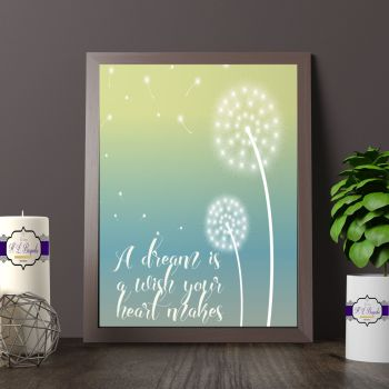 Pretty Dream Bedroom Wall Print Decor - Blue & Green Dream Wall Decor - Make A Wish Print - Dandelion Dream Quote Print - Dandelion Quote