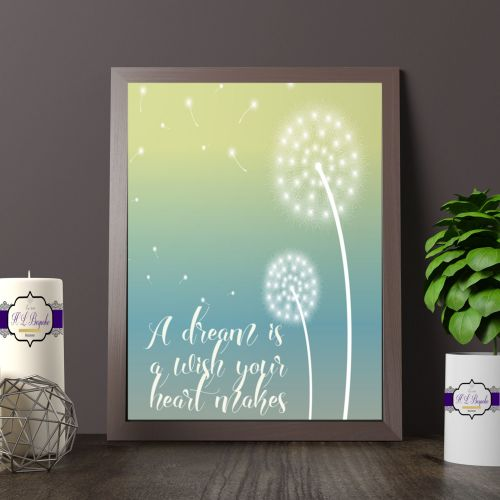 A Dream Is A Wish The Heart Makes Printed Quote - Dandelion Print - Dream &
