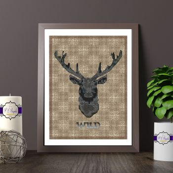 Black And Brown Stag Head Printed Quote - Wild Stag Print On A Brown Plaid Background