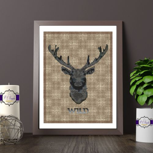 Black And Brown Stag Head Printed Quote - Wild Stag Print On A Brown Plaid