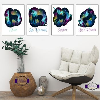 Black Mythical Unicorn Wall Art Set - A4 Unicorn Wall Decor Prints - Believe - Dream - Be Yourself - Be A Unicorn Print