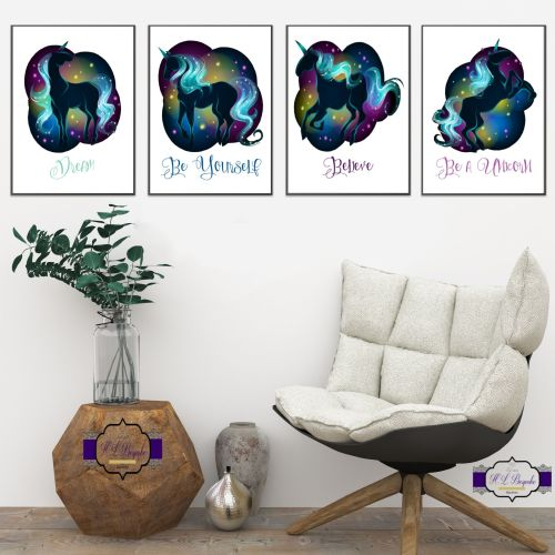Black Mythical Unicorn Wall Art Set - A4 Unicorn Wall Decor Prints - Believ