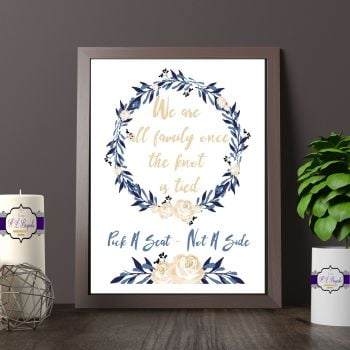 Blue & Cream Rose Choose A Seat Not A Side Printed Quote - Vintage Wedding Sign