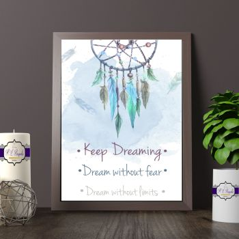 Blue Watercolour Dream Catcher Print - Keep Dreaming - Dream Without Fear - Dream Without Limits Quote