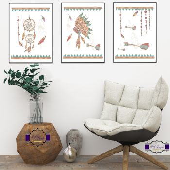 Boys Tribal Nursery Prints - Nursery Boho Print Set - DreamCatcher Print Set - Boys Nursery Feather Art - Boys Arrows Art - Indian Headdress