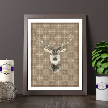 Brown And White Stag Head Print - Ristic Print With Plaid Background