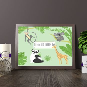 Dream BIG Little One Quote Print - Jungle Themed Nursery Decor