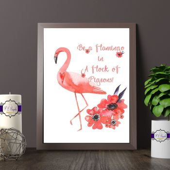 Flamingo Bedroom Quote Print - Be A Flamingo Print For Girl - Pink FLamingo Quote Print - Flamingo Bedroom Decor - Flamingo Quote Print