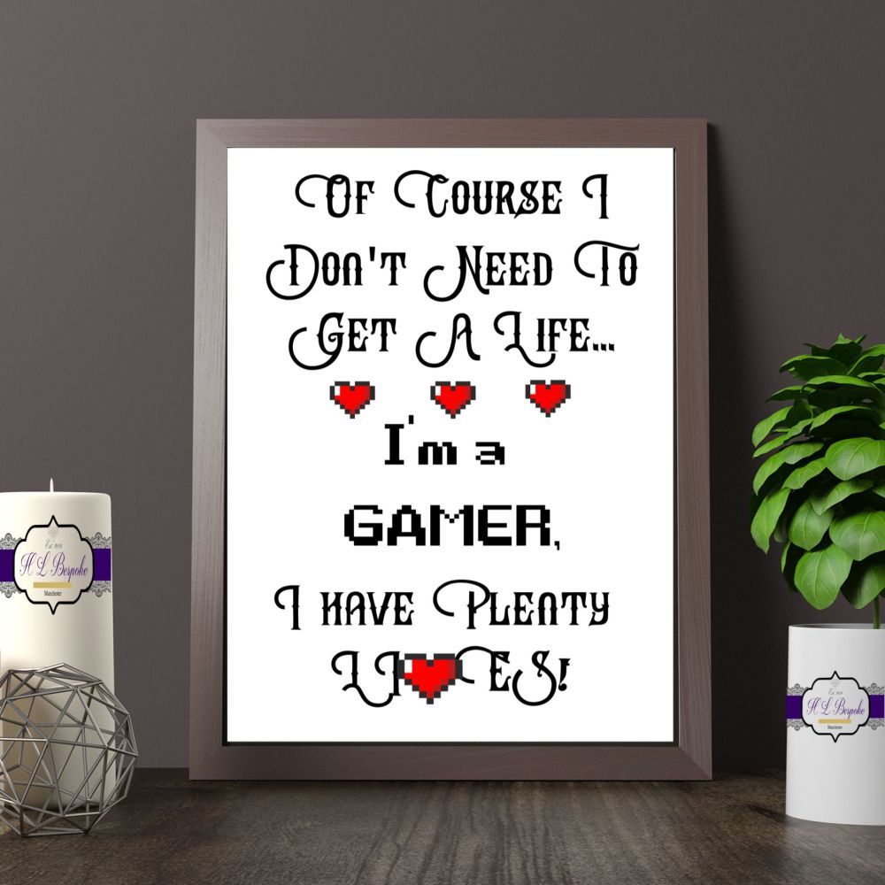 Gamer Gift - A4 I'm A Gamer Print - Games Room Decor - Teenage Gift - Cours