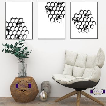 Honeycombe Bee Print Set - A4 Black and White Print Set - Black and White Bee Print Dream Print - Honeycomb Wall Decor - Printed & Unframed