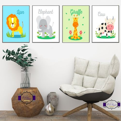 Nursery Print Set - A4 Nursery Animal Wall Decor - Unisex Nursery Wall Deco