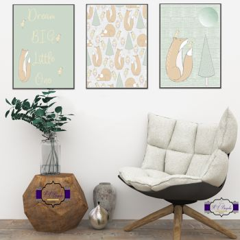 Nursery Wall Art Set - A4 Nursery Quote Dream Big Little One Prints - Nursery Wall Decor