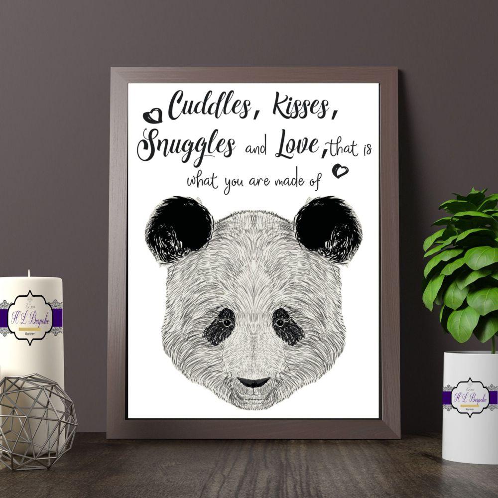 Panda Wall Art Print - A4 Adorable Panda Quote Wall Decor - Cuddles Kisses