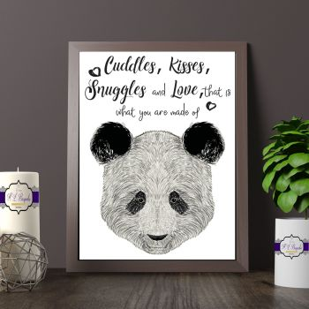 Panda Wall Art Print - A4 Adorable Panda Quote Wall Decor - Cuddles Kisses Snuggles & Love That Is What You Are Made Of Quote