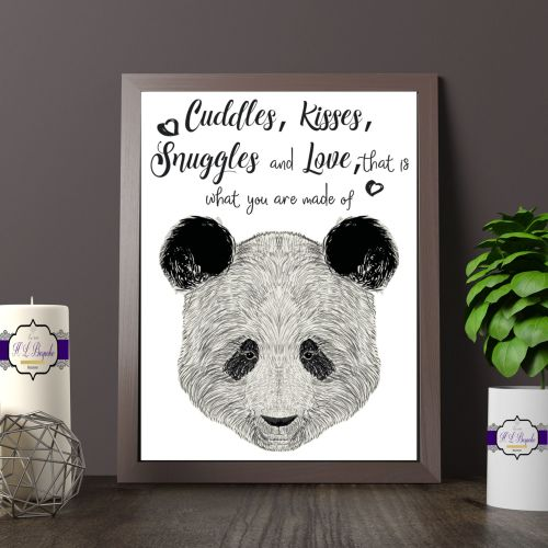 Panda Wall Art Print - A4 Adorable Panda Quote Wall Decor - Cuddles Kisses