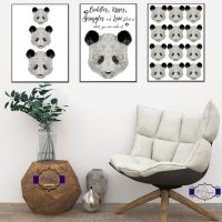 Monochrome Nursery Decor - Panda Print Set - Panda Nursery Wall Decor - Monochrome Decor For Nursery - Baby Girl Nursery Decor Boy - Unisex