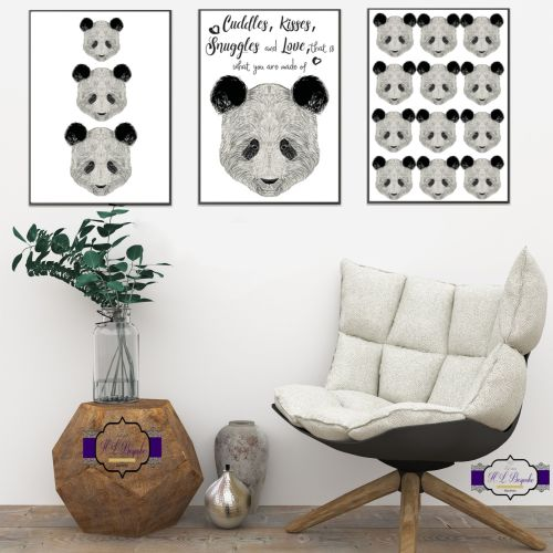 Panda Wall Art Set - A4 Adorable Panda Quote Wall Decor Prints - Black & Wh