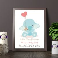 Personalised New Baby Print - Personalised New Baby Elephant Gift - Baby Name, Weight & Date Gift