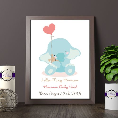 Personalised New Baby Print - Personalised New Baby Elephant Gift - Baby Na