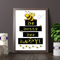 Printed Quote - Be Happy Printed Quote - Black and Yellow Bee Print