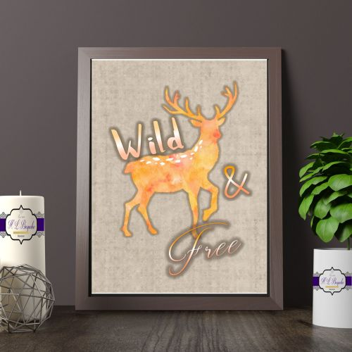 Red And Orange Deer Printed Quote - Wild & Free Printed Quote