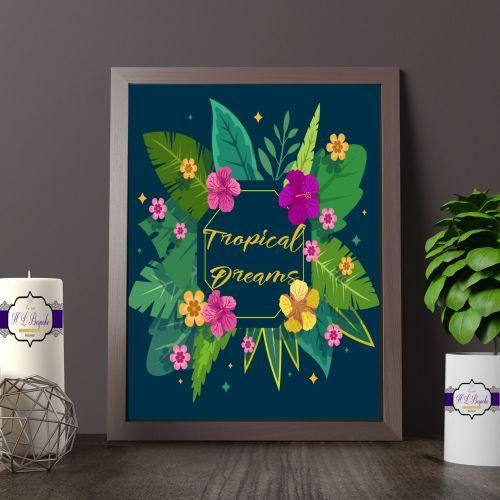 Tropical Floral Theme Wall Decor - Tropical Dreams Print - Tropical Flower