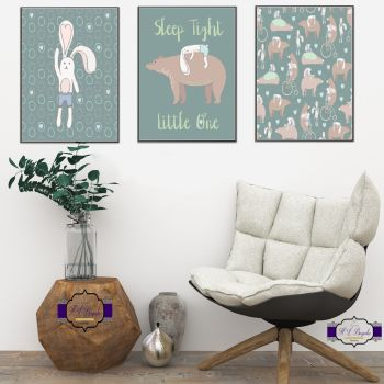 Unisex Nursery Print Set - A4 Nursery Quote Prints - Sleep Tight Little One - Bunny And Bear Wall Decor