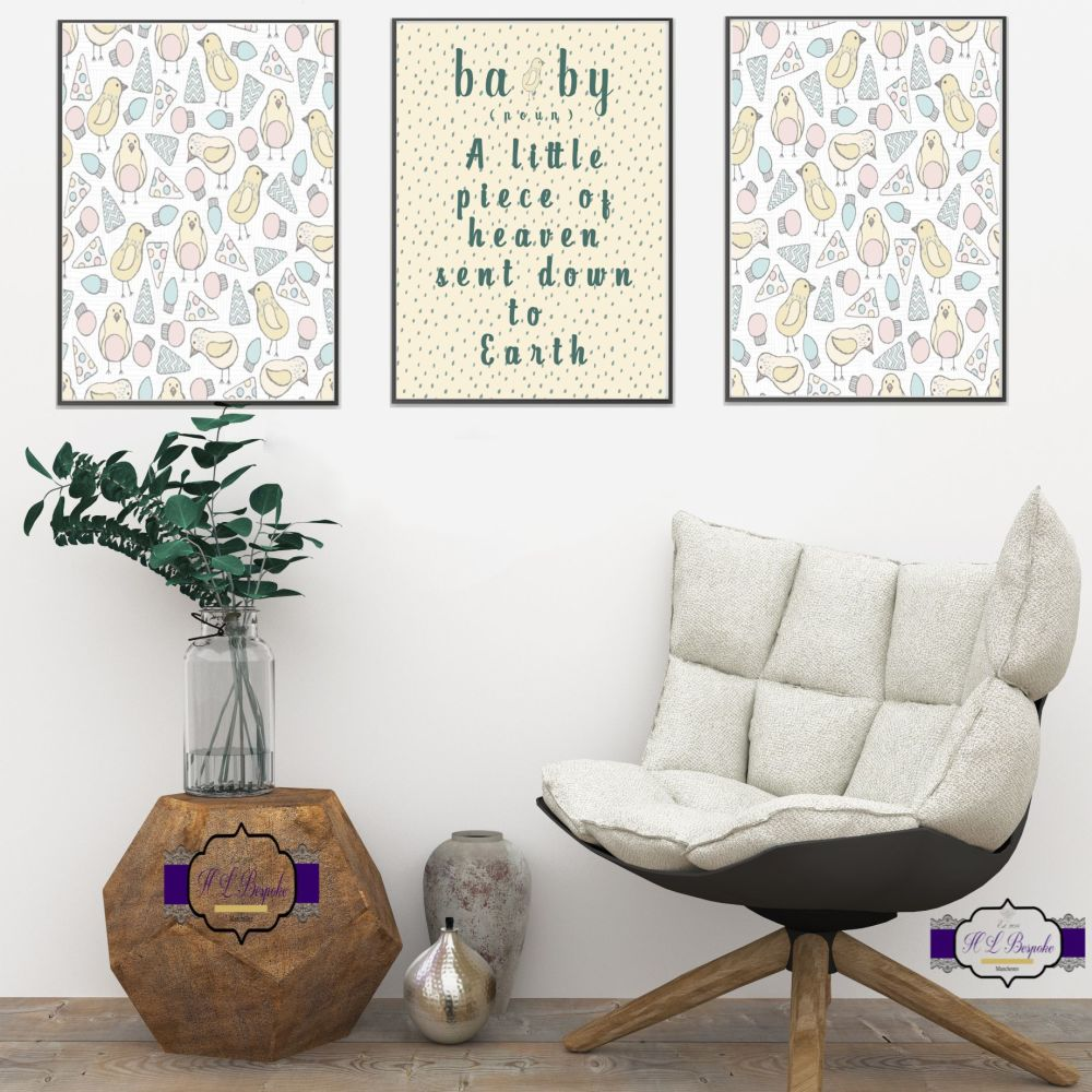 Unisex Nursery Wall Art Set - A4 Nursery Quote A Little Piece Of Heaven Sen