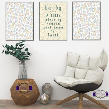 Unisex Nursery Wall Art Set - A4 Nursery Quote A Little Piece Of Heaven Sent Down To Earth - Nursery Wall Decor