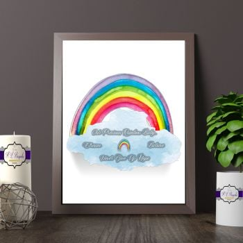 Rainbow Baby Print Quote - Watercolour Rainbow & Cloud Print