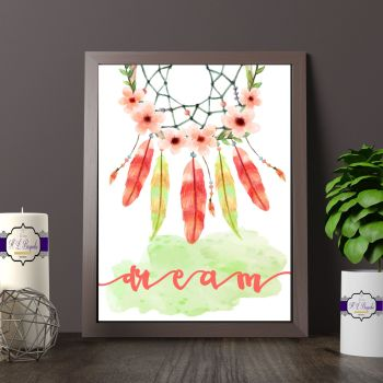 Watercolour Dream Catcher Print - Bohemian Wall Art - Bohemian Dream Catcher Wall Art