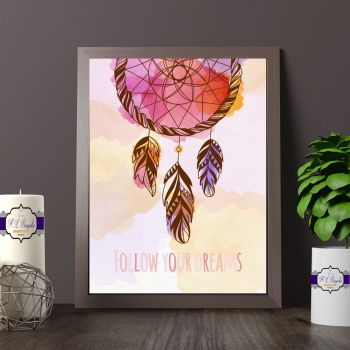 Pink Dreamcatcher Decor - Boho Wall Decor - Tribal Dreamcatcher Print - Follow Your Dreams Bedroom Decor - Watercolour Dream Catcher Print