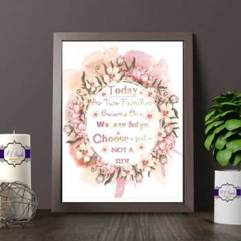 Wedding Choose A Seat Not A Side Printed Quote - Vintage Wedding Sign - COLOUR TEXT
