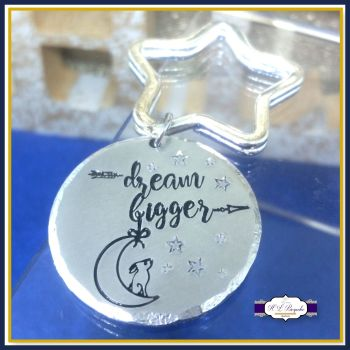 Dream Bigger Keyring - Hare and Moon Gift - Dream Keychain - Keep Dreaming Gift - Hare and Moon Keychain - Stars and Moon - Stocking Fillers