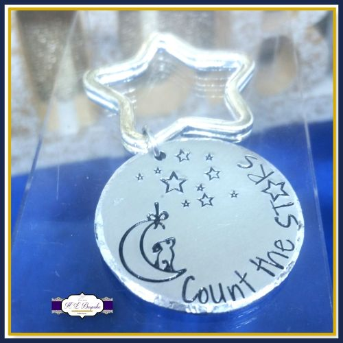 Count The Stars Keyring - Hare and Moon Gift - Wish Keychain - Dream Gift -