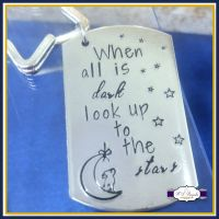 When All Is Dark Look Up At The Stars Keyring - Hare and Moon Gift - Wish Keychain - Dream Gift - Stars and Moon - Small Stocking Fillers