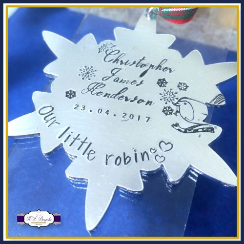 Personalised In Memory Of Christmas Decoration - Robin Tree Hanging - Baby