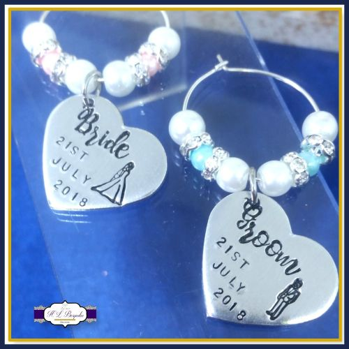 Personalised Bride & Groom Wine Glass Charms - Wedding Wind Glass Charms -