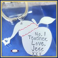Personalised Teacher Keyring Christmas Gift - Christmas Gift For Teachers - Number One Teacher - Gifts For Teaching Assistants - Apple Gift