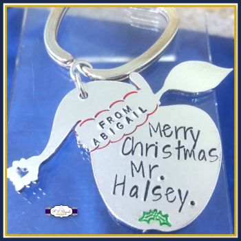 Personalised Teacher Keyring Christmas Gift - Christmas Gift For Teachers - Merry Christmas Teacher - Gift For Teaching Assistant - Apple