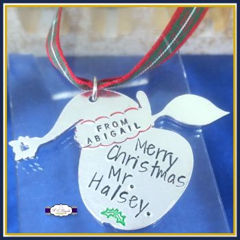 Personalised Teacher Christmas Tree Decoration - Christmas Gift For Teachers - Merry Christmas Teacher - Gift For Teaching Assistant - Apple